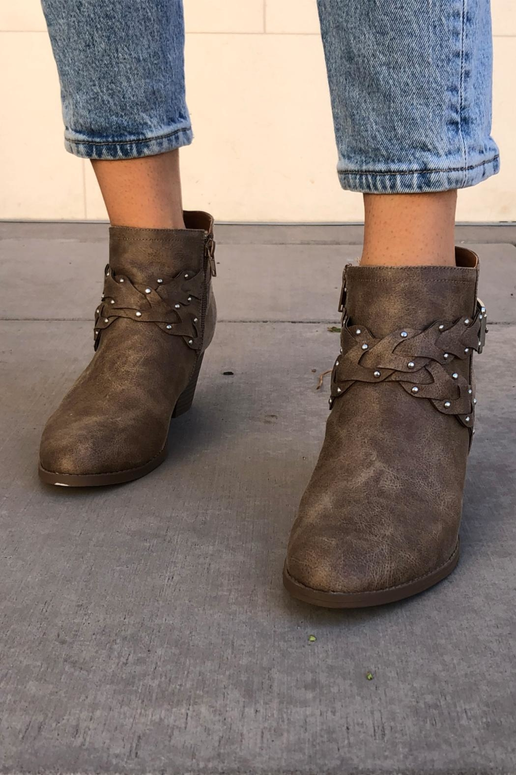 Qupid Western Braided Booties - Back Cropped Image