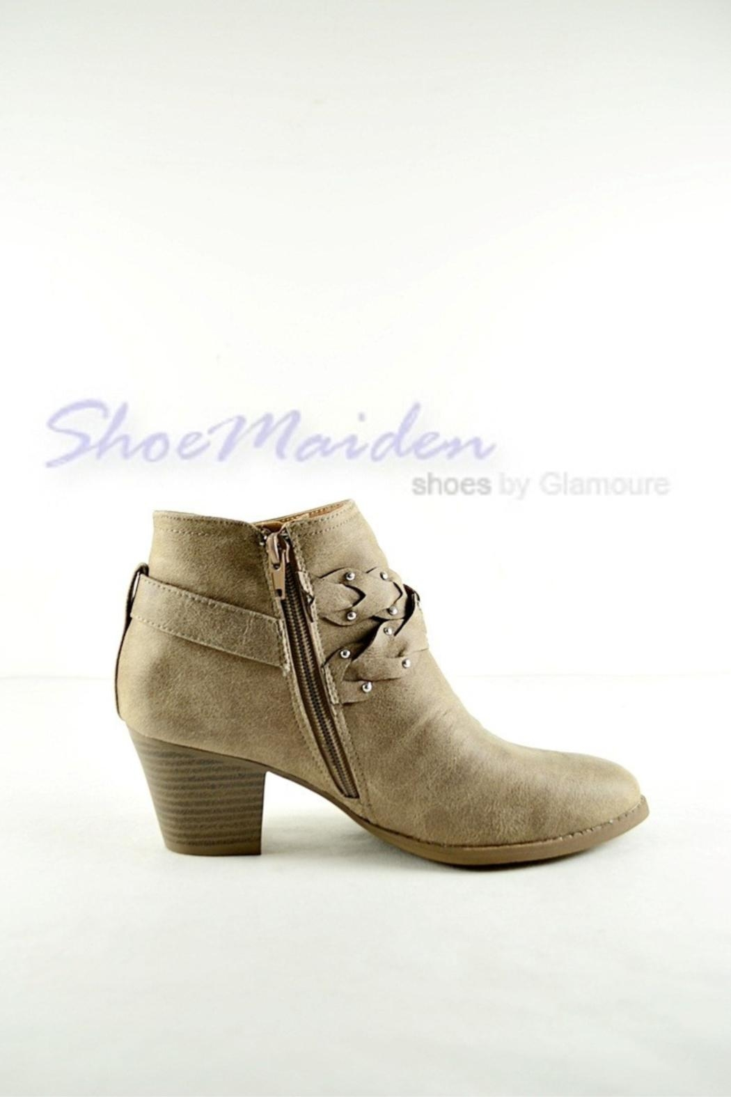 Qupid Western Braided Booties - Front Full Image