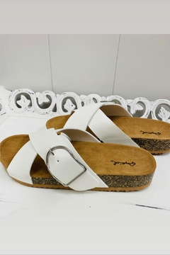 Qupid White Cross Strap Sandals - Product List Image