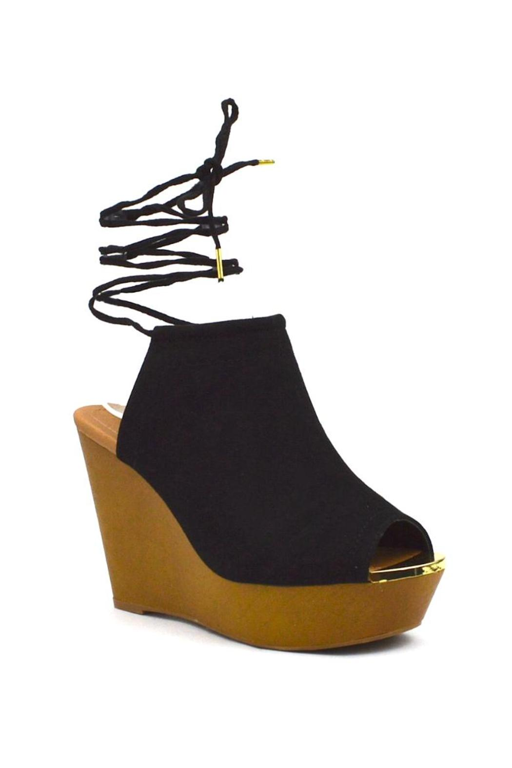 Qupid Wooden Mule Wedge - Front Full Image