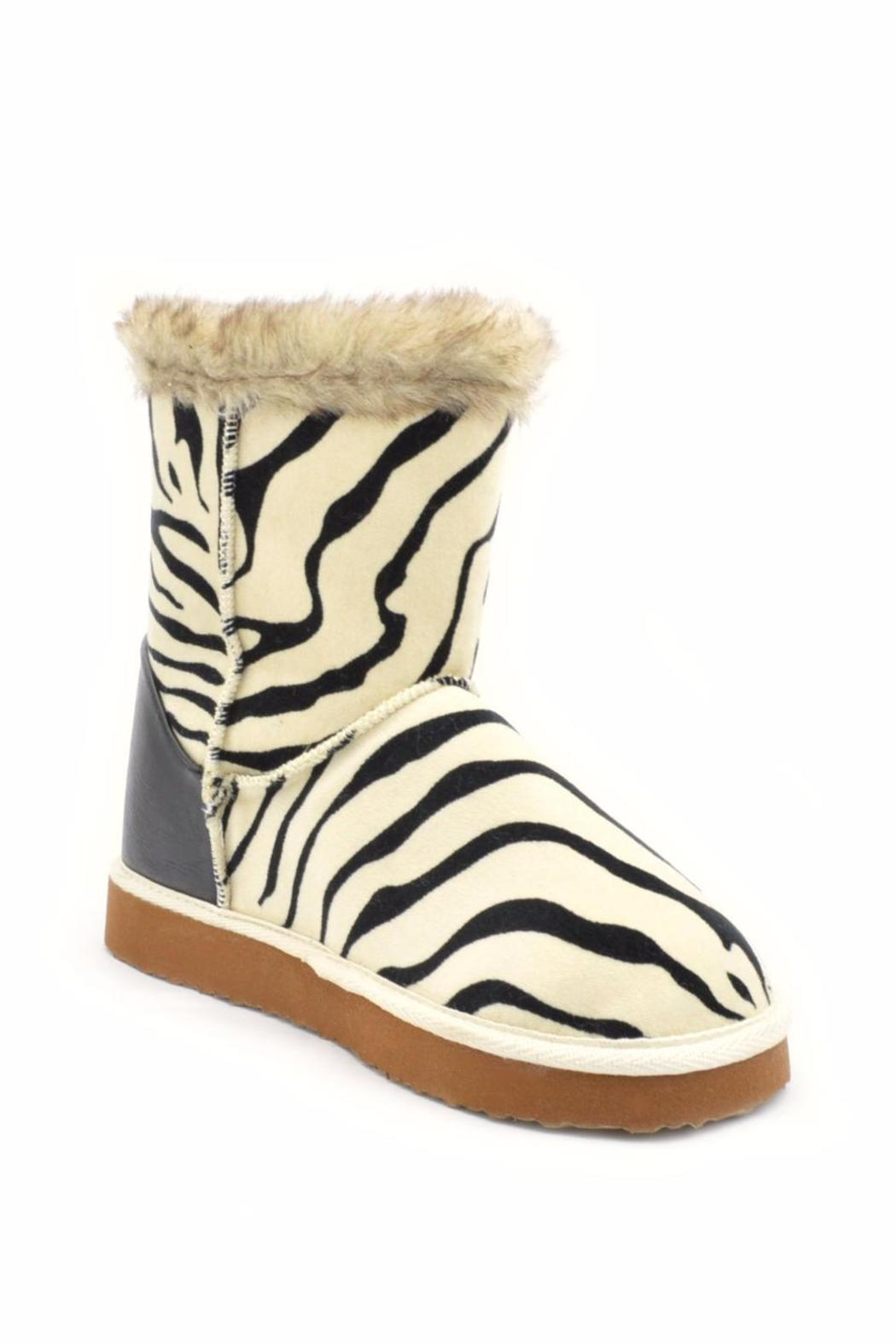 Qupid Zebra Ankle Boot - Side Cropped Image