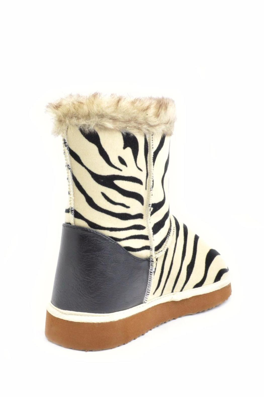 Qupid Zebra Ankle Boot - Back Cropped Image