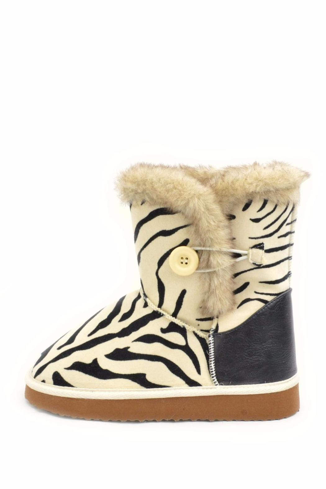 Qupid Zebra Ankle Boot - Front Cropped Image