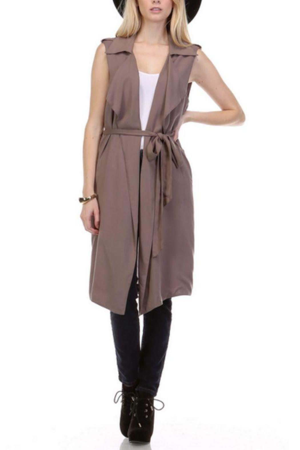 R+D Hipster Emporium  Long Vest Trench - Side Cropped Image