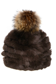 Mitchies Matching Rabbit Beanie Raccoon Pom - Front cropped