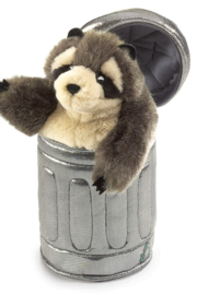 Folkmanis Raccoon In Garbage Can Puppet - Front cropped