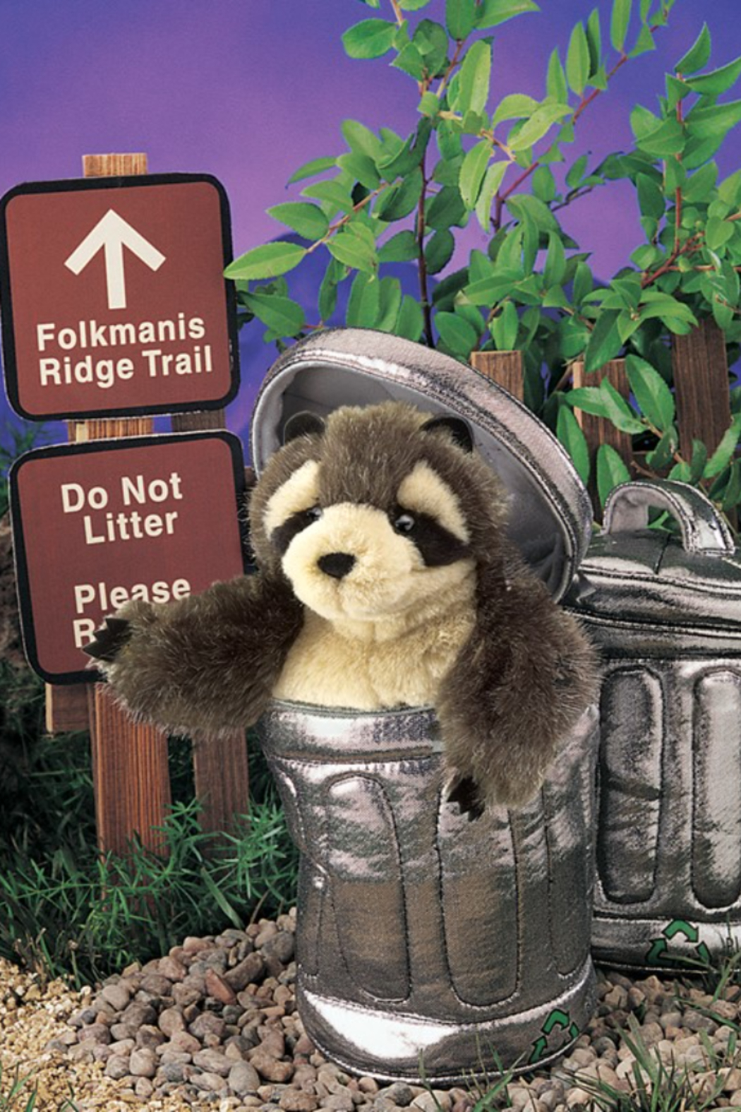 Folkmanis Raccoon In Garbage Can Puppet - Back Cropped Image