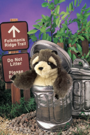 Folkmanis Raccoon In Garbage Can Puppet - Back cropped