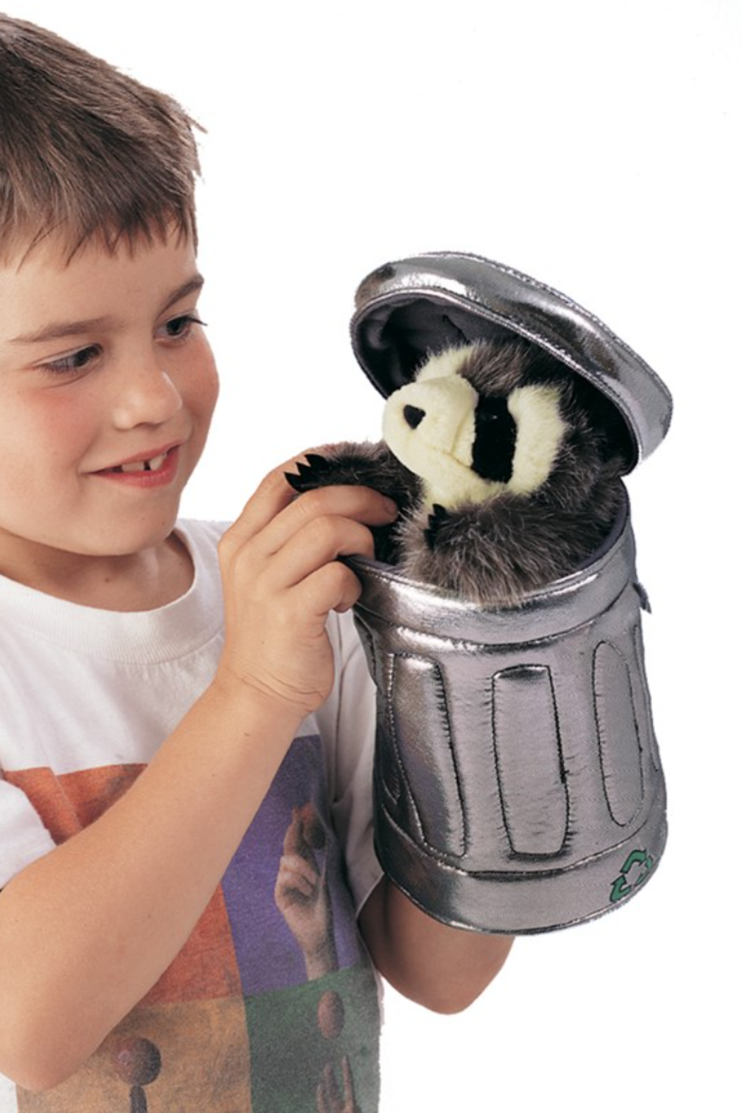Folkmanis Raccoon In Garbage Can Puppet - Side Cropped Image