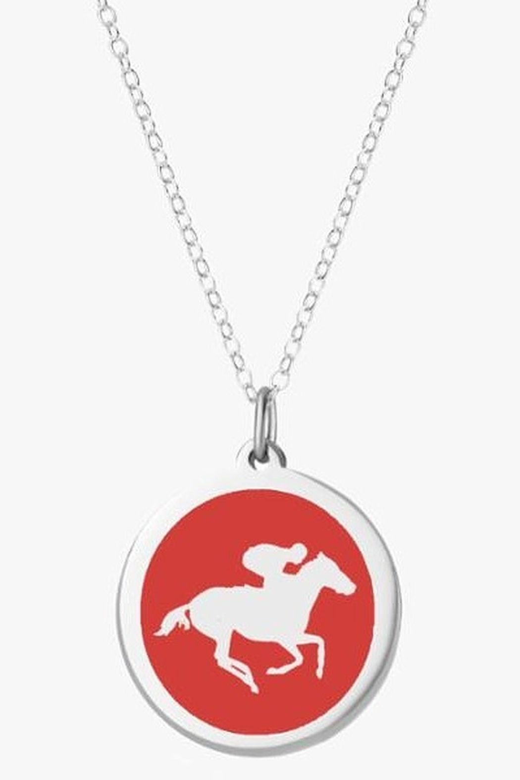 Auburn Jewelry Race Horse Silver Pendant - Large - Front Cropped Image
