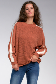 Elan Racer Stripe Chenille Sweater - Product Mini Image