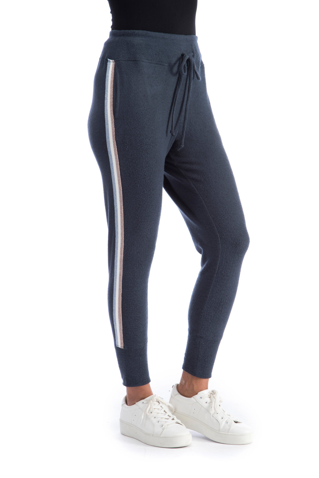 Bobeau Racer Stripe Cozy Jogger - Front Cropped Image