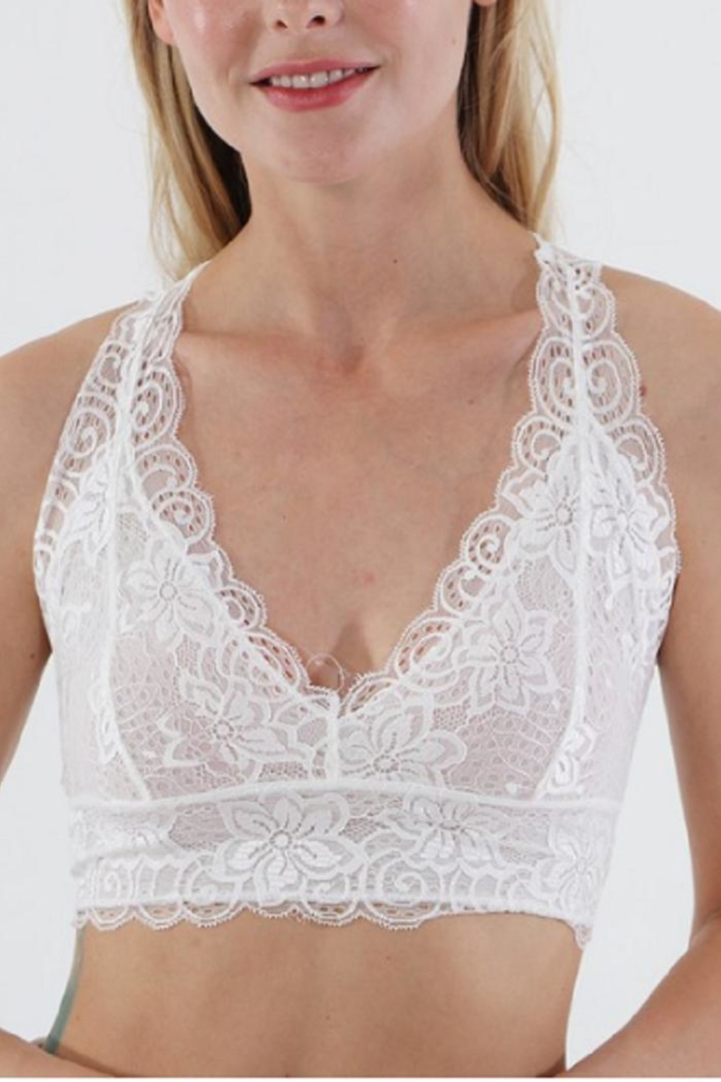 Wanna B Racerback Lace Bralette - Front Cropped Image