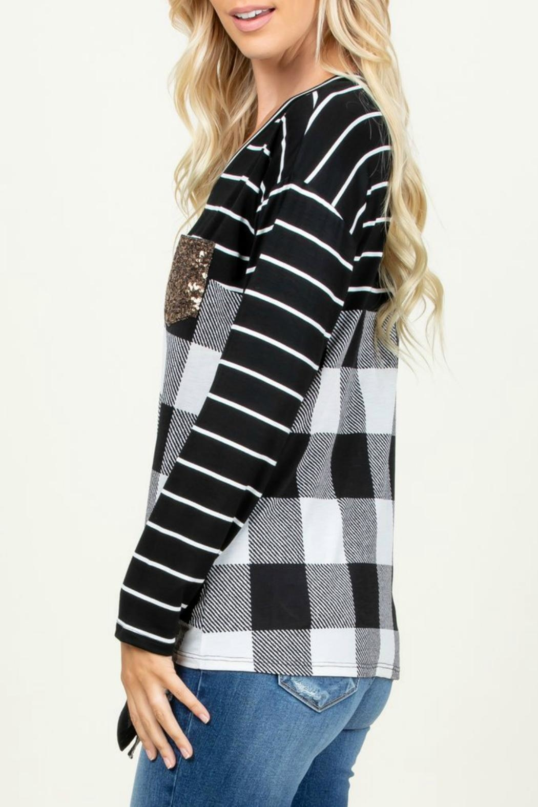 Rachael Sequined-Detail Plaid Top - Side Cropped Image
