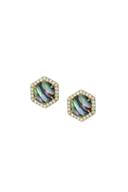 Rachael Ryen Jewelry Abalone Pave Stud Earrings - Front cropped
