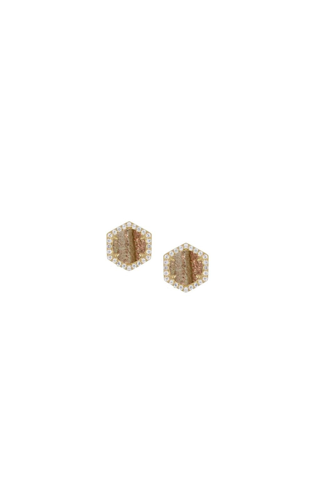 Rachael Ryen Jewelry Rutilated Quartz Stud Earrings - Front Cropped Image