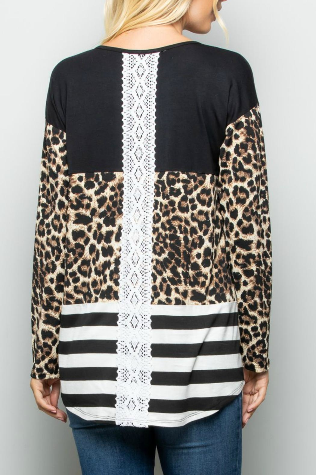 Racheal Animal-Stripe Color-Block Top - Side Cropped Image
