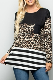 Racheal Animal-Stripe Color-Block Top - Front cropped
