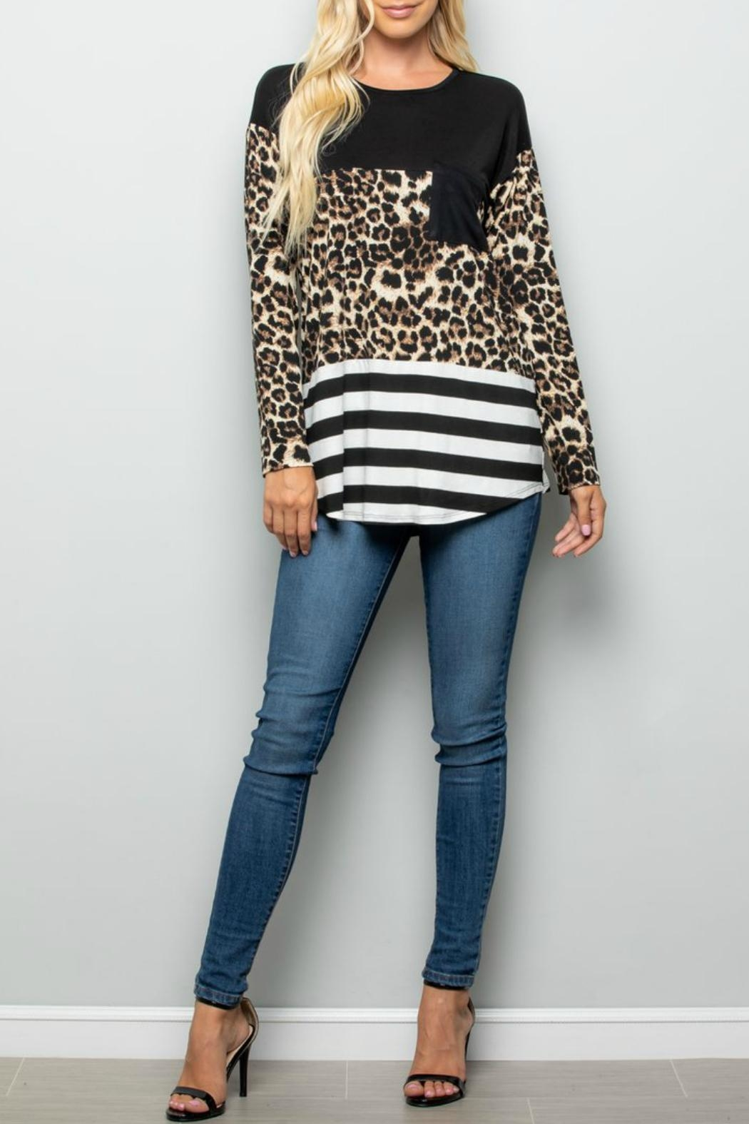 Racheal Animal-Stripe Color-Block Top - Back Cropped Image