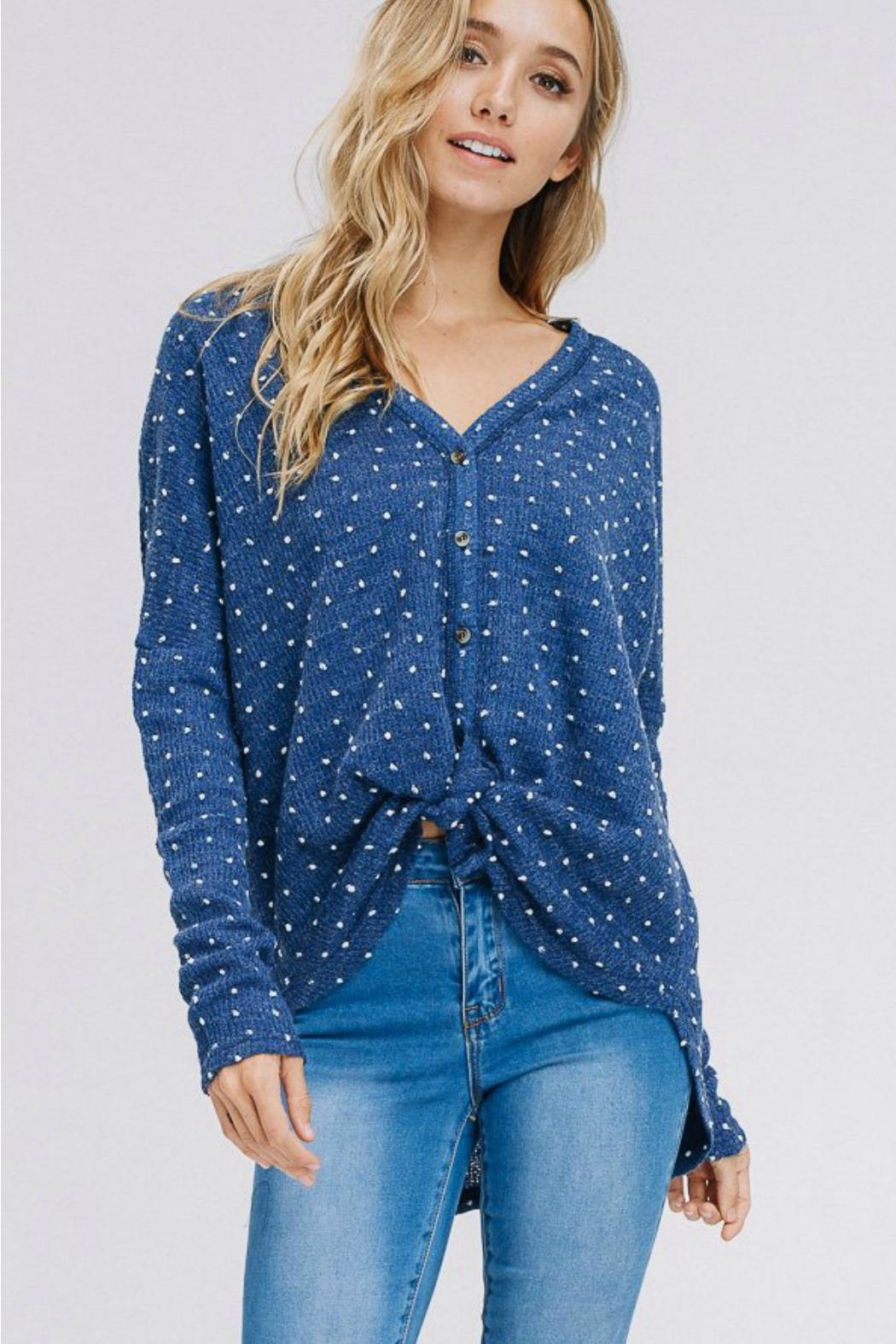 Racheal Button-Up Dot Sweater - Front Full Image