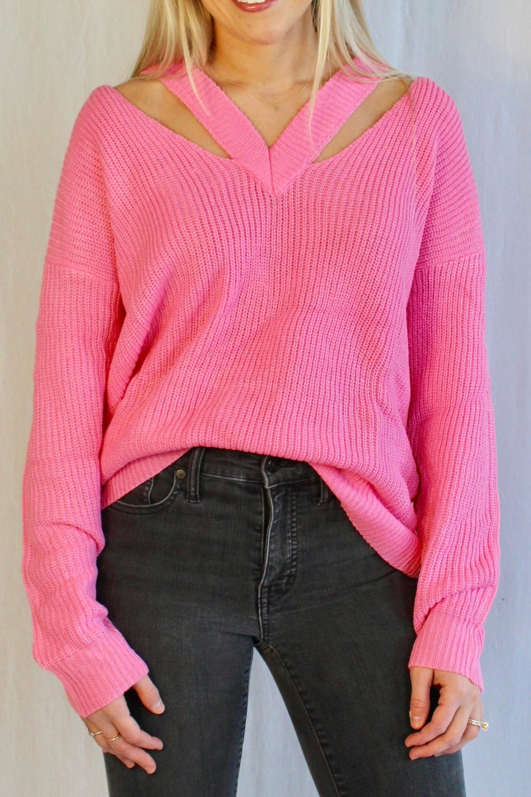 Racheal V Open Shoulder Sweater - Main Image