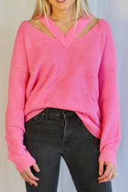 Racheal V Open Shoulder Sweater - Front cropped