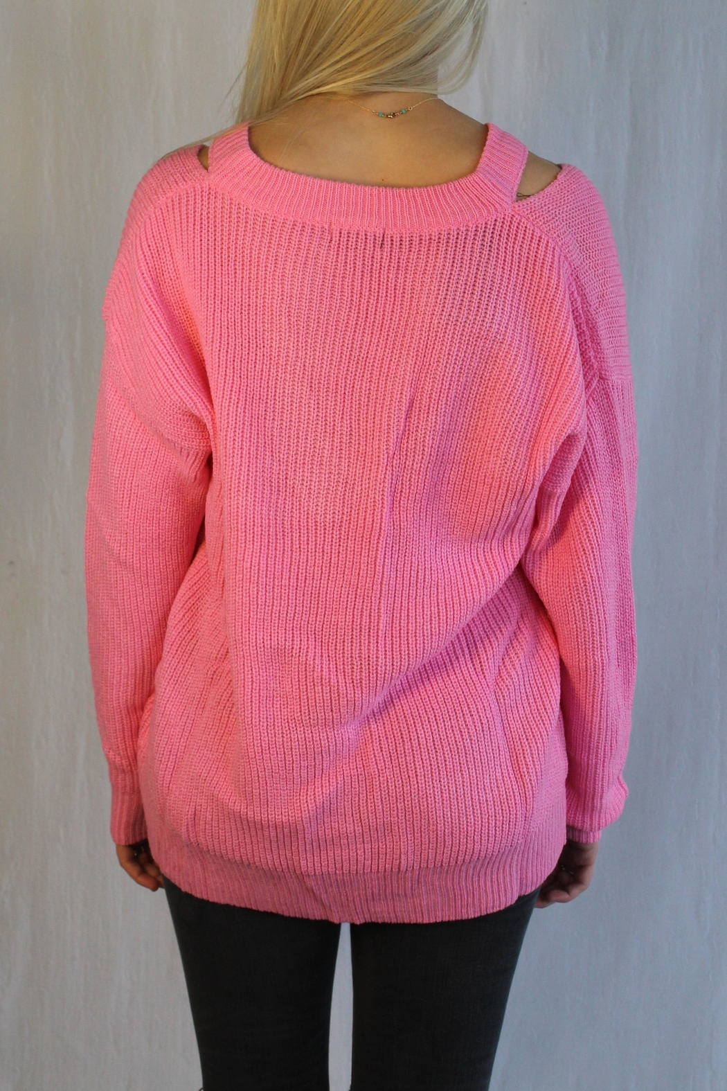 Racheal V Open Shoulder Sweater - Front Full Image