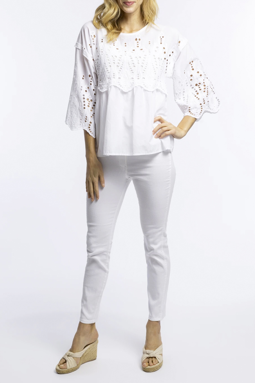 Tyler Boe Rachel Eyelet Top - Front Cropped Image