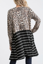 Racheal Animal Print-Stripe Cardigan - Front full body