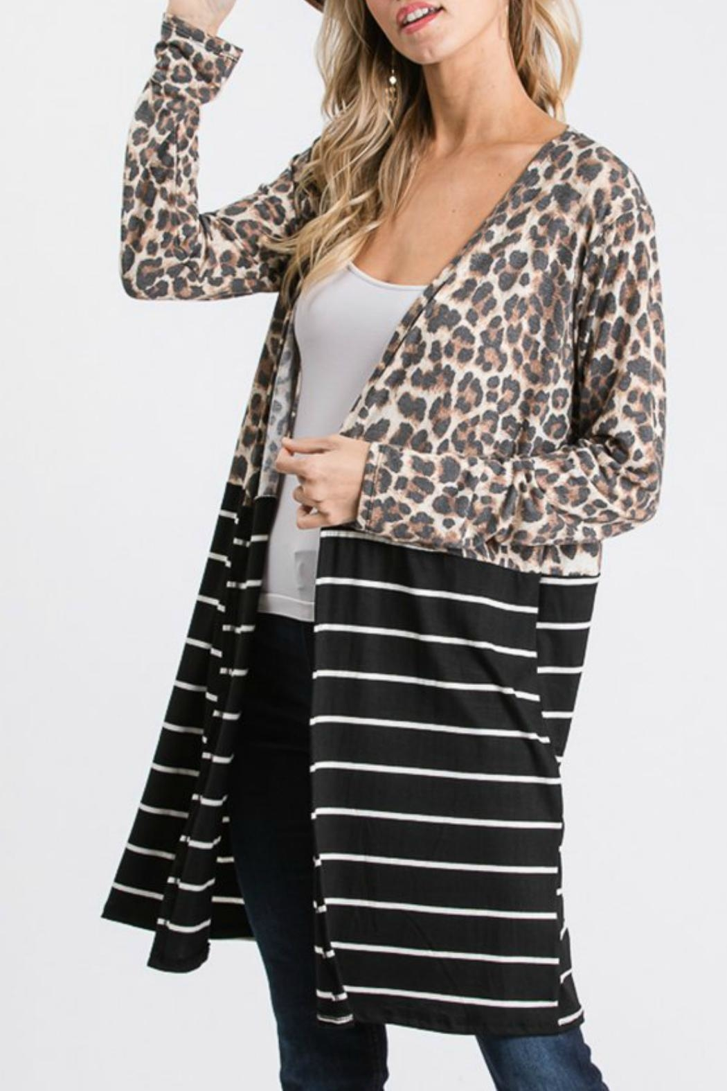 Racheal Animal Print-Stripe Cardigan - Main Image