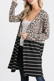 Racheal Animal Print-Stripe Cardigan - Front cropped