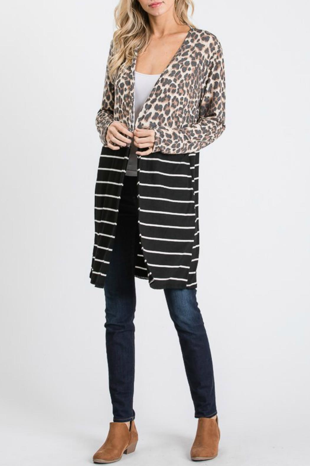 Racheal Animal Print-Stripe Cardigan - Side Cropped Image