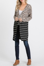 Racheal Animal Print-Stripe Cardigan - Side cropped