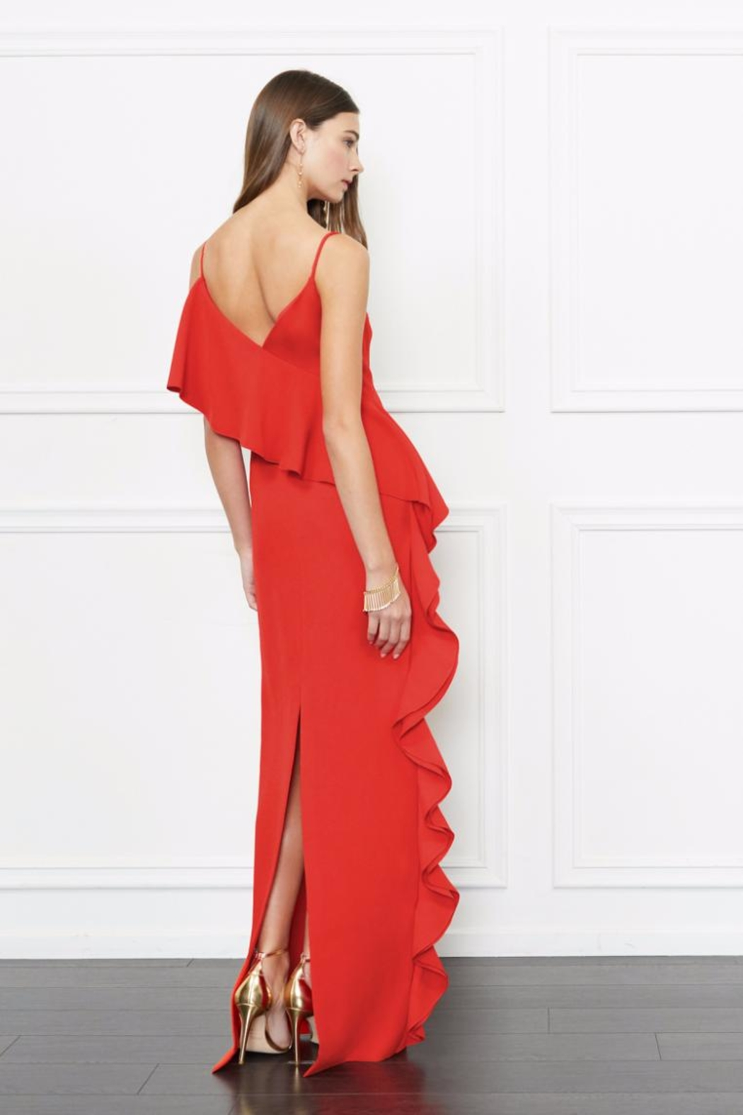 Rachel Zoe Coral Ruffle Gown - Front Full Image