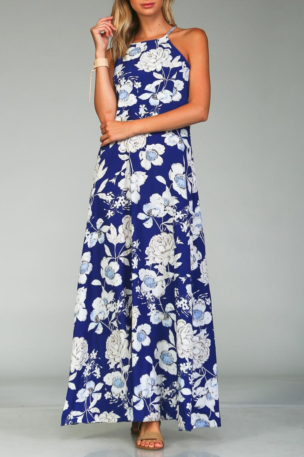 Racine Bold Floral Maxi Dress - Front Full Image