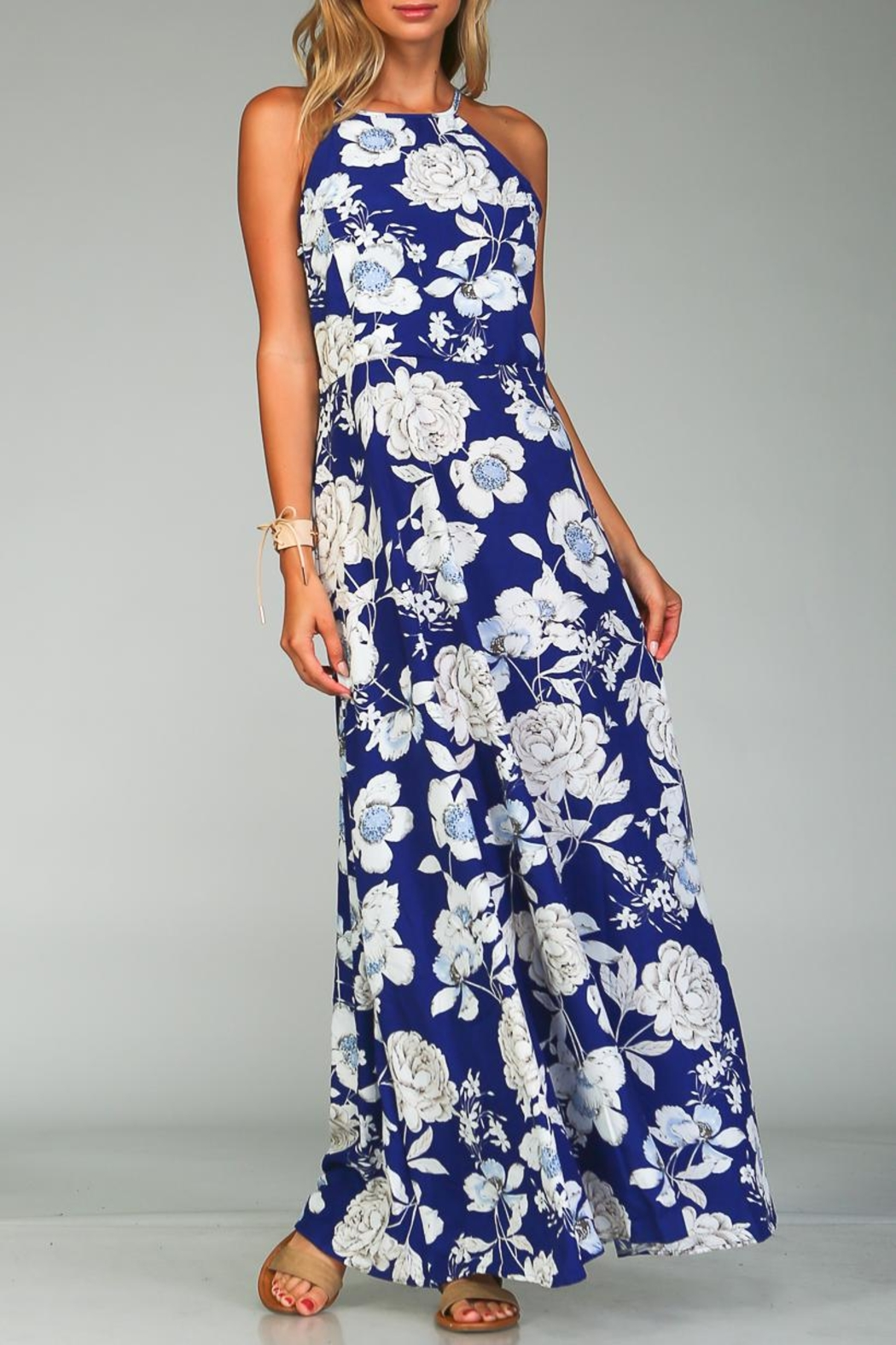 Racine Bold Floral Maxi Dress - Front Cropped Image