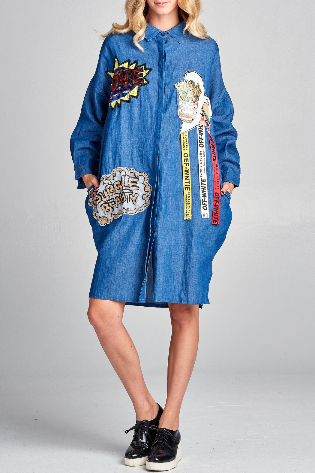Racine Denim Patchwork Dress - Main Image