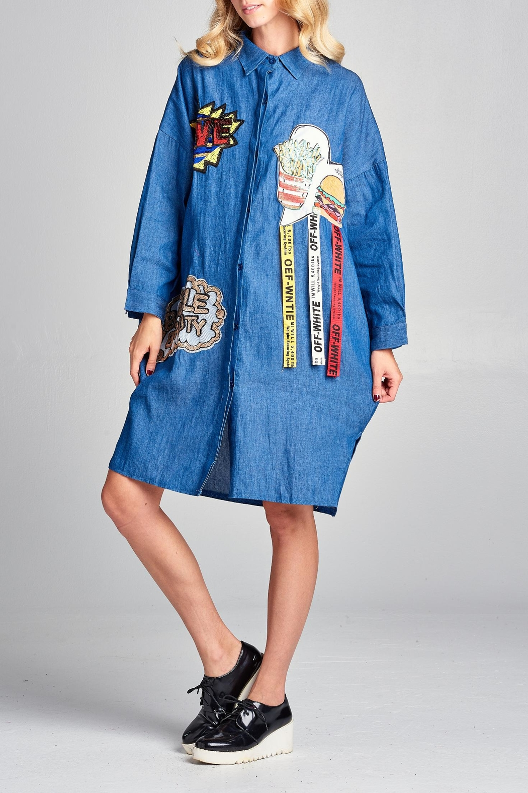 Racine Denim Patchwork Dress - Front Full Image