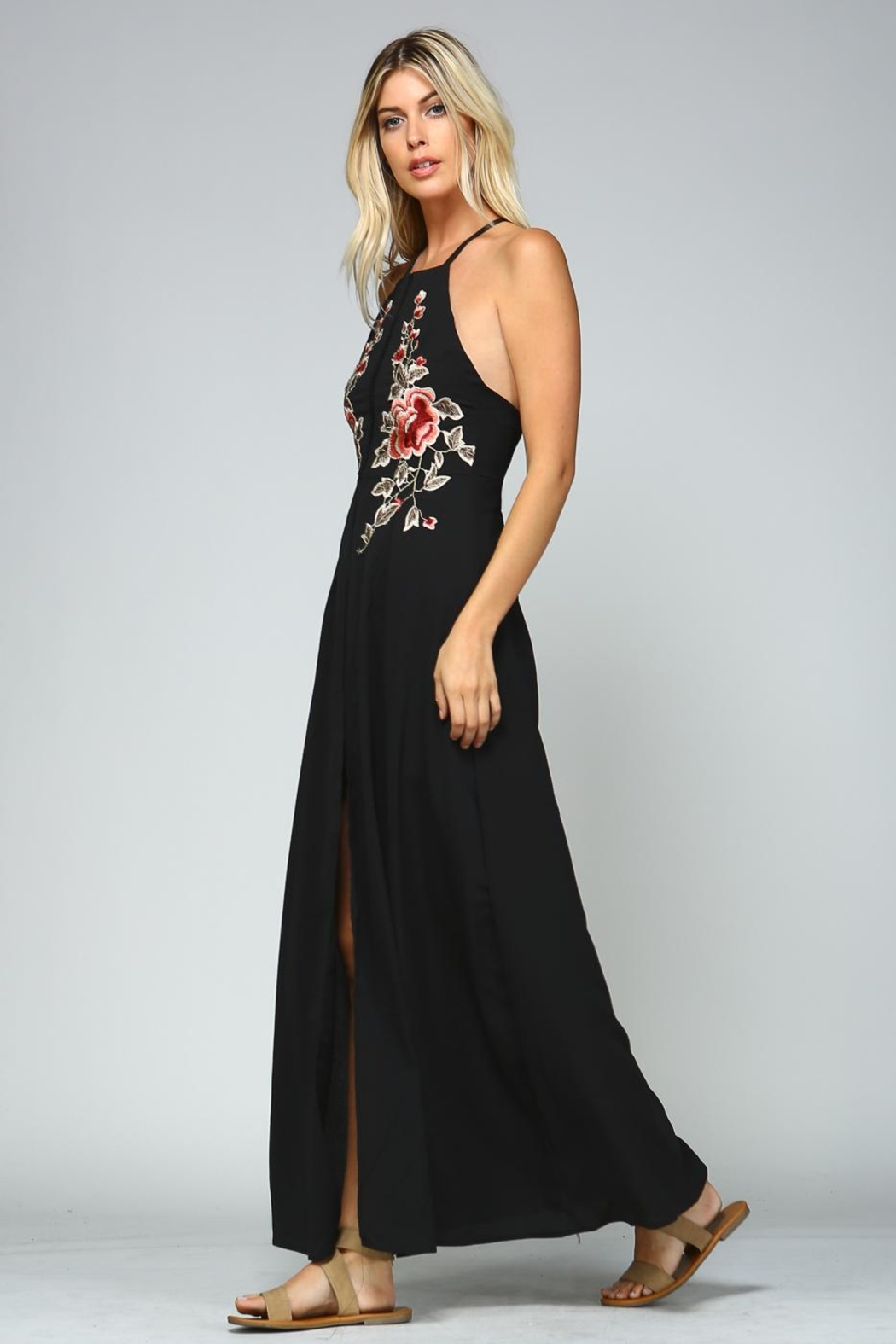 Racine Floral Embroidered Dress - Side Cropped Image
