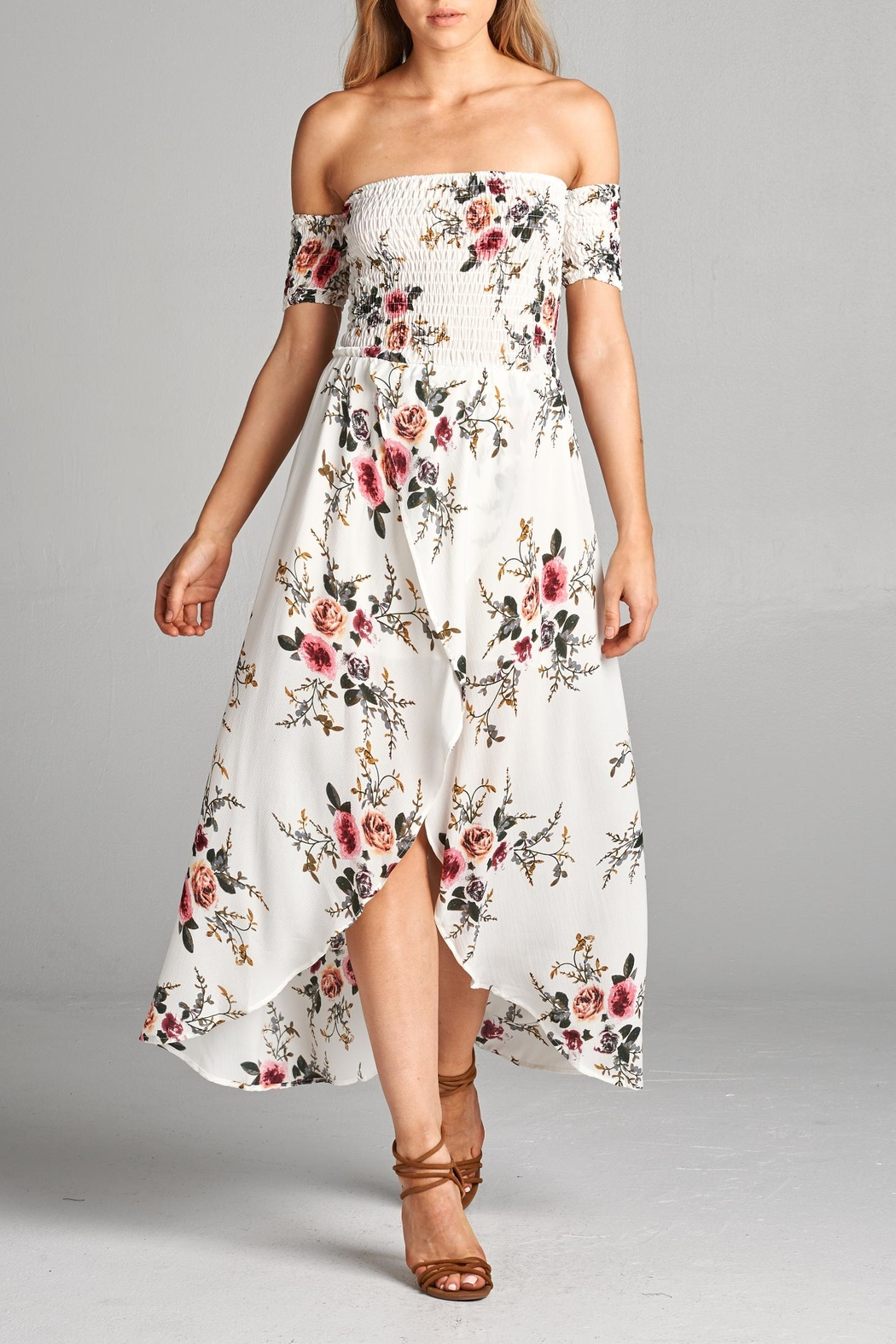 Racine Floral Off Shoulder Dress - Front Cropped Image