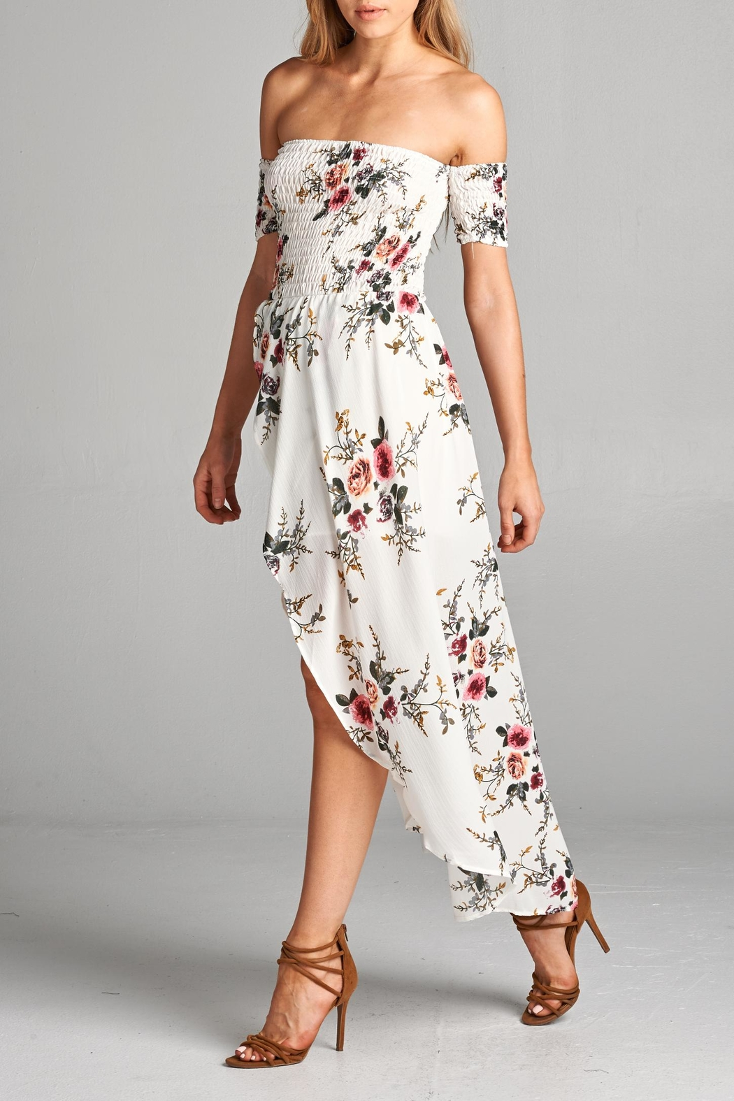 Racine Floral Off Shoulder Dress - Front Full Image
