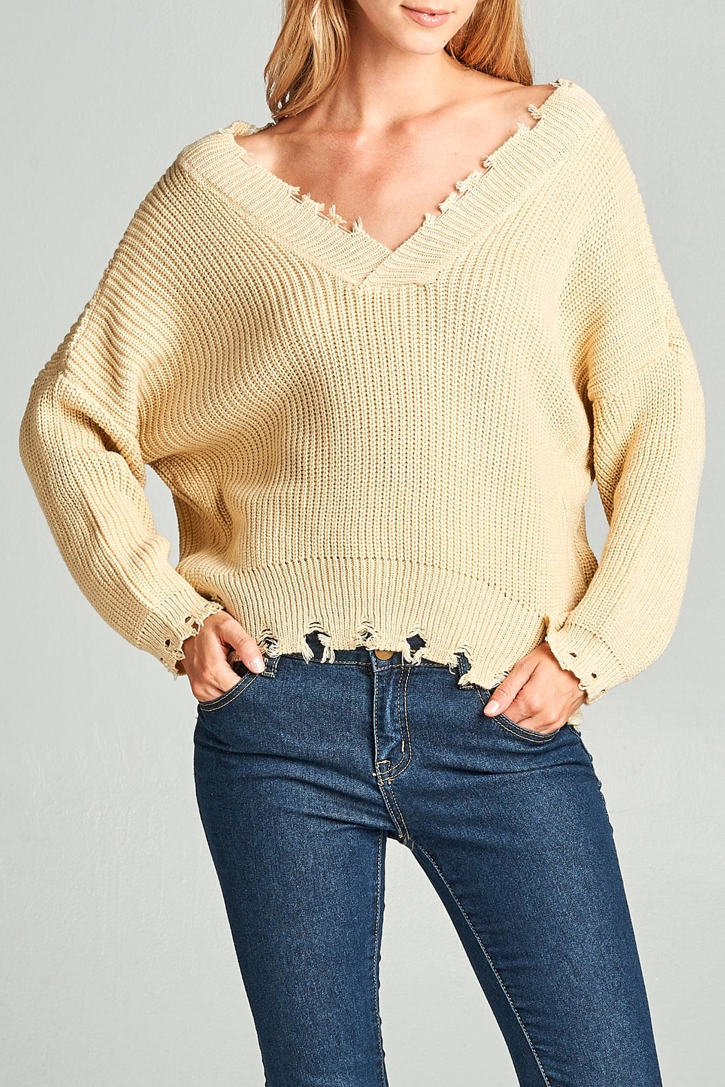 Racine Frayed Edge Sweater - Front Cropped Image