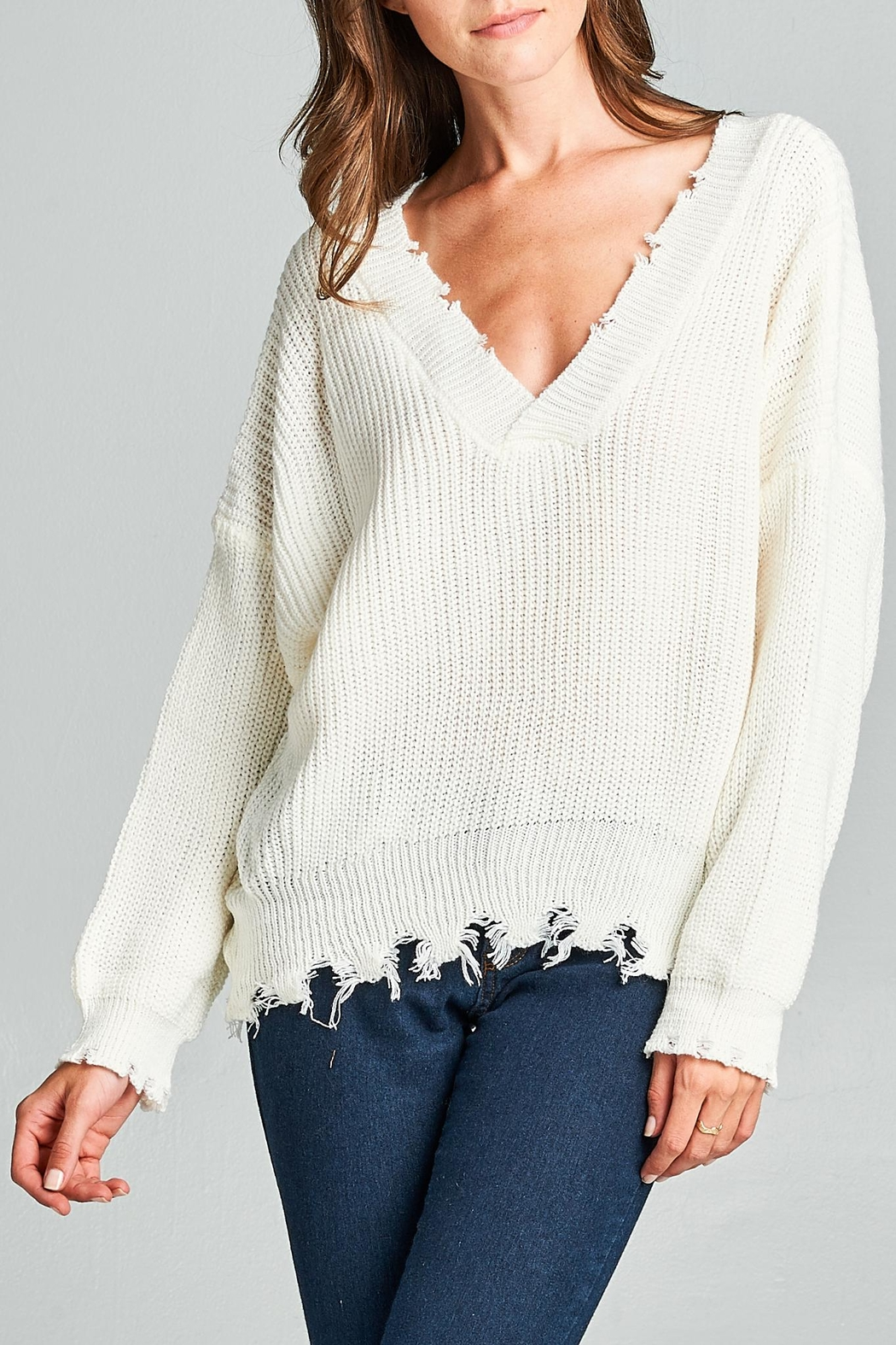 Racine Frayed Sweater - Front Cropped Image