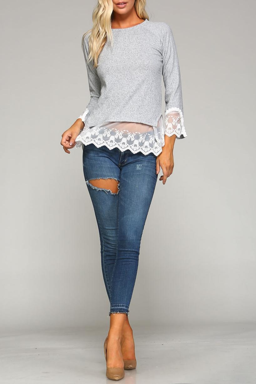 Racine Lace Hem Sweater - Front Full Image