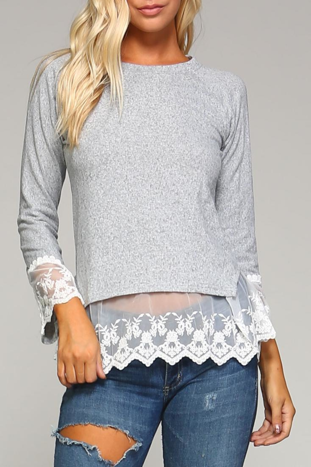 Racine Lace Hem Sweater - Front Cropped Image