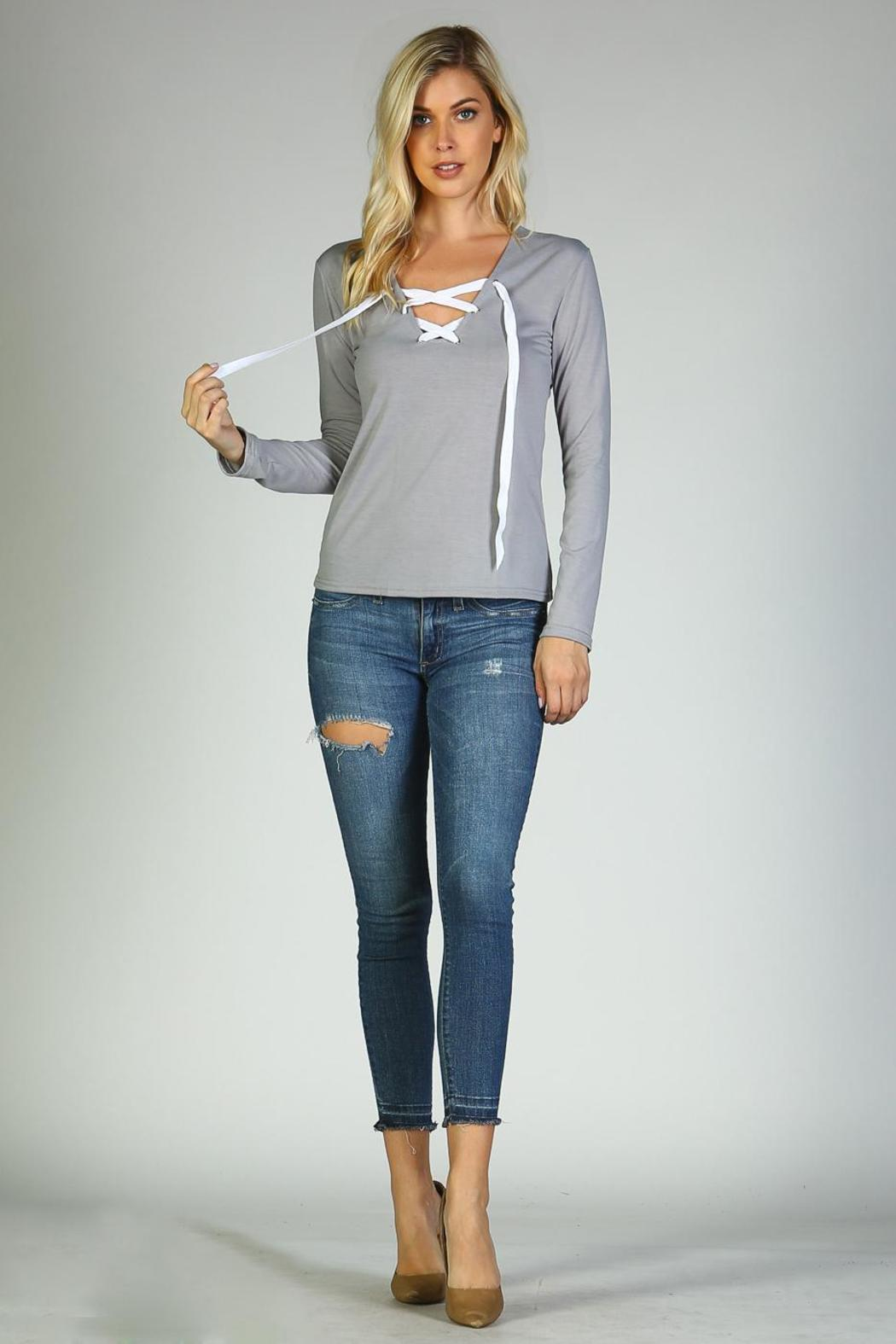 Racine Lace Me Up Top - Front Full Image