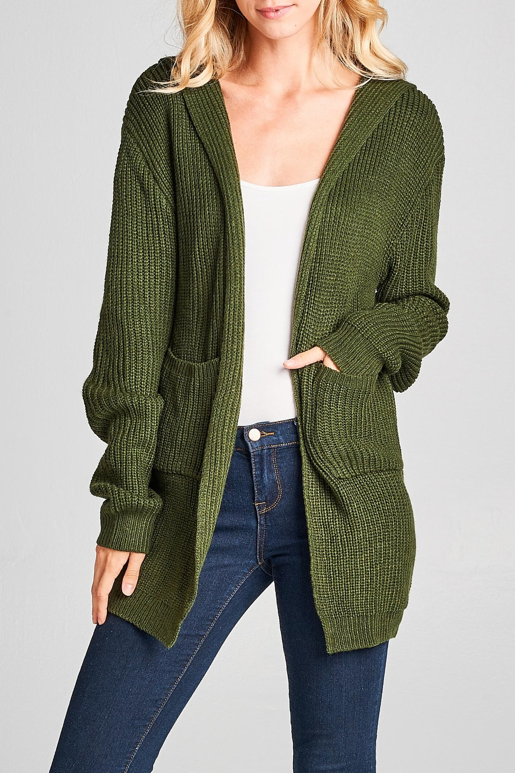 Racine Lace Up Cardigan - Front Full Image