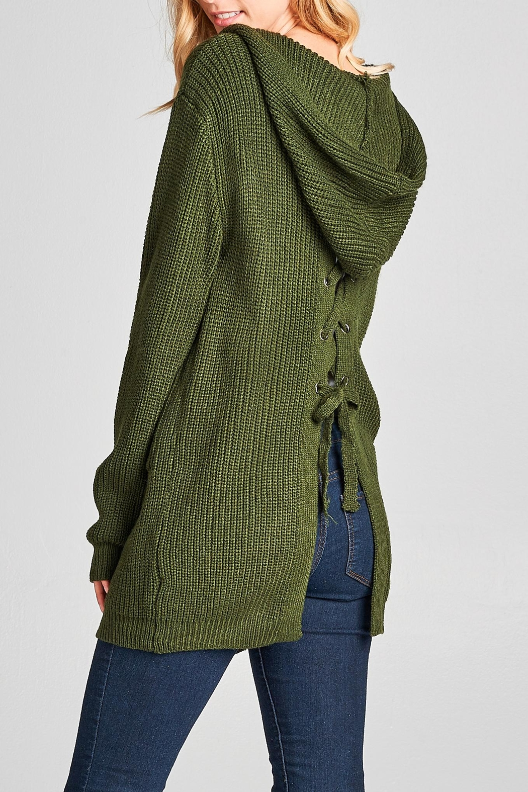 Racine Lace Up Cardigan - Side Cropped Image