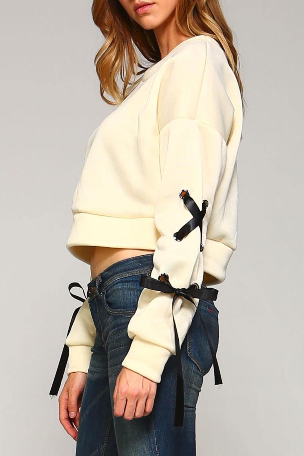 Racine Lace-Up Sleeve Top - Front Cropped Image