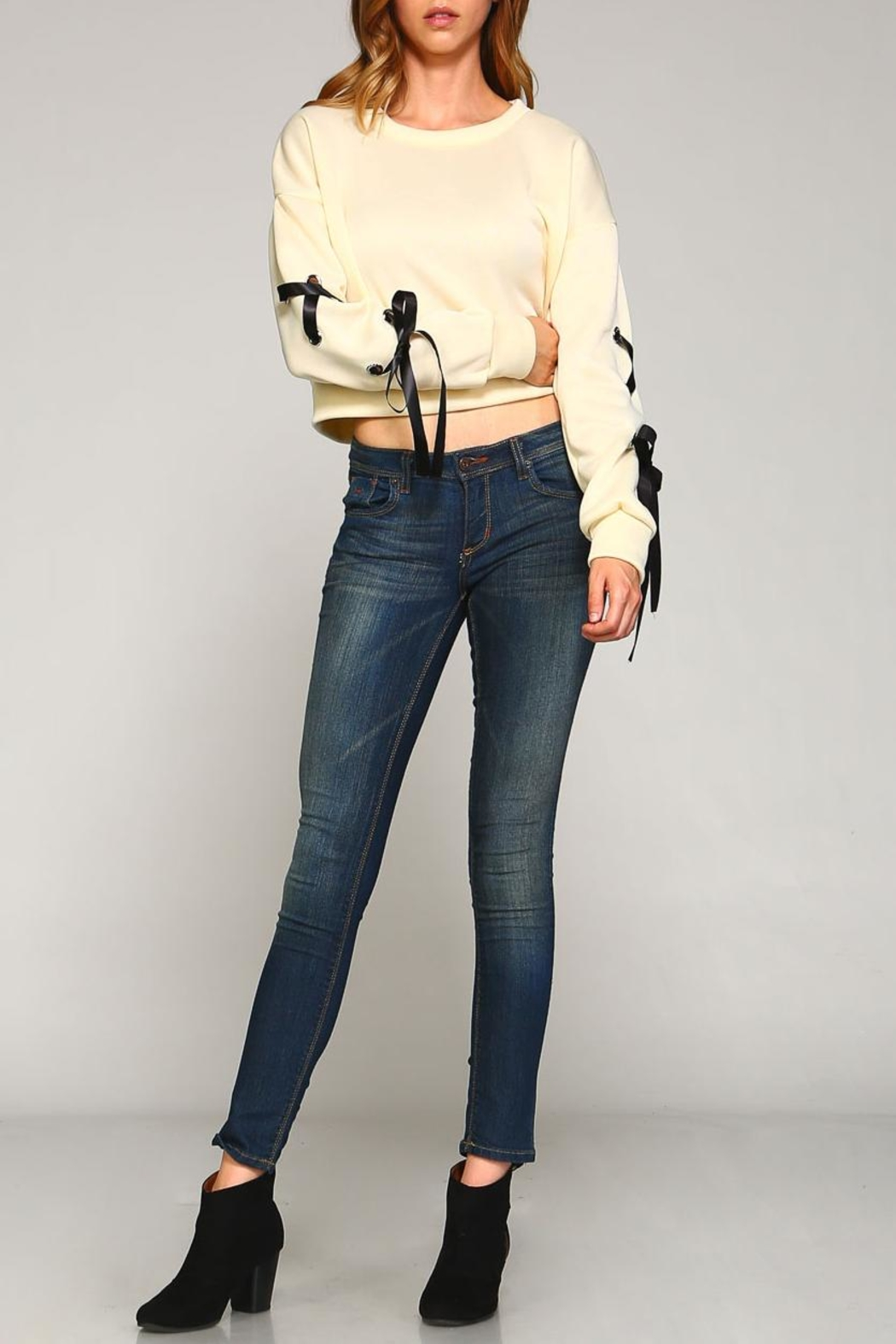 Racine Lace-Up Sleeve Top - Side Cropped Image